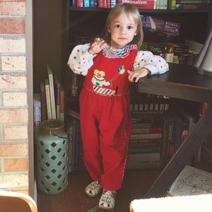 4T clown overalls and long sleeve polka dot top